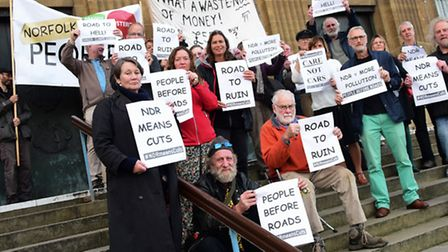 NDR protesters at City Hall in Norwich. Picture: DENISE BRADLEY