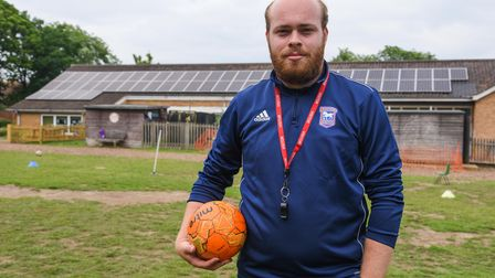 Tom Ling, from Ipswich Town Community Trust, who lead some football sessions at Kelsale Primary Scho