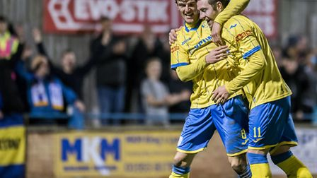 FA Trophy action from King's Lynn Town v Belper Town at the Walks - Liam Hurst, left, celebrates his