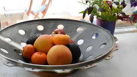A fruit bowl made from a CFM56 jet engine support bearing