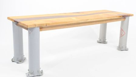 This coffee table is made from original decommissioned Puma Helicopter drive shaft legs