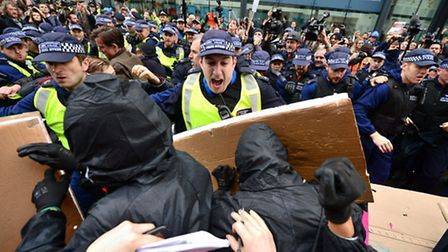 Students during a protest calling for the abolition of tuition fees and an end to student debt in We