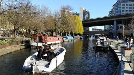 Heading down the Paddington Basin arm from Little Venice Credit: Martin Ludgate