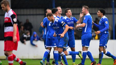 National League North action between Lowestoft Town and Solihull Moors. Ryan Jarvis scores for Lowes