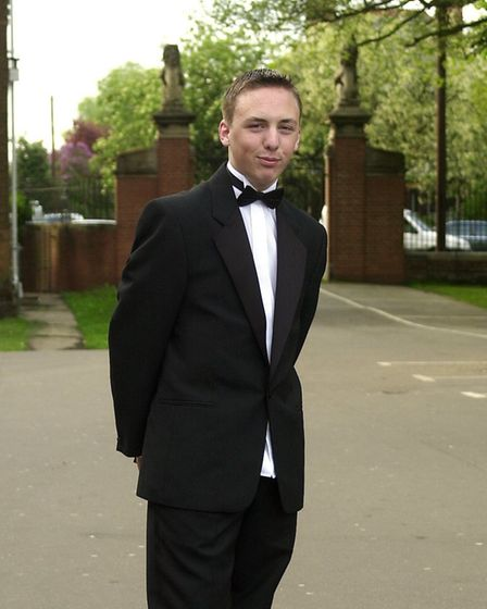 Liam Dickerson dressed to kill at his prom night at KES.18/05/01 words Beth Manning.