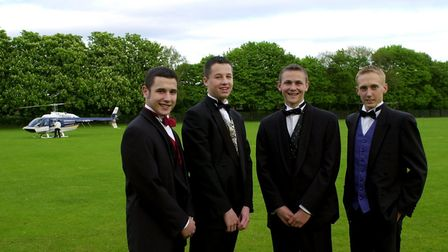 Shaken but not stirred after arriving at their prom night in a helicopter are Andy Saunders, Joe Rud