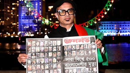 Cllr Abdal Ullah and montage of Bengali victims of Covid with London Eye behind decked in Bangladesh colours