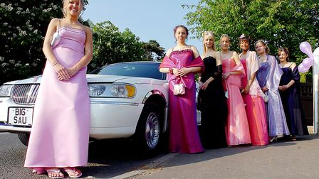 Ready for their High School Prom at Leziate Sailing Club, standing next to their limo, LtoR, Katie R