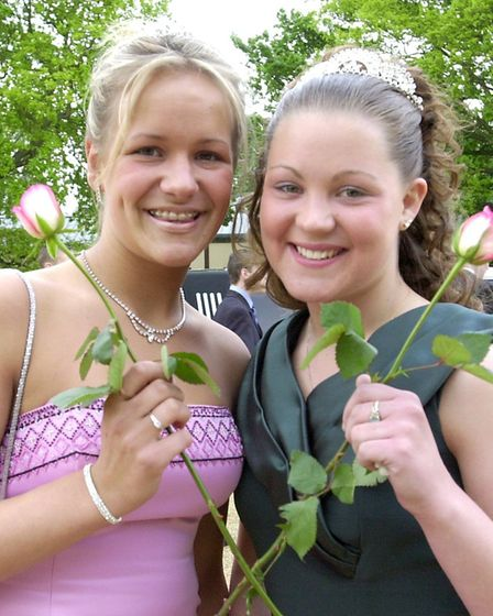 Emma Rudd(left) & Tina Hockley , who organised Park High School's first Prom., arrive for the eve