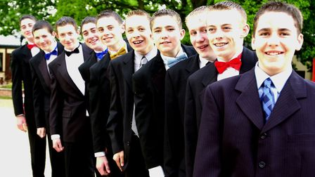 Here come the boys...... pupils from Park High School arrive for the school 's first Prom. at Lezi