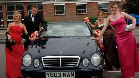 Arriving at the Attleborough High School Prom are from left, Laura Wild, Luke Denney, Victoria Edwar