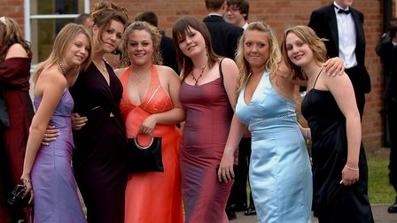 Glitz and glamour as Year 11 girls arrive at the Attleborough High School Prom. From left, Sylvie Br