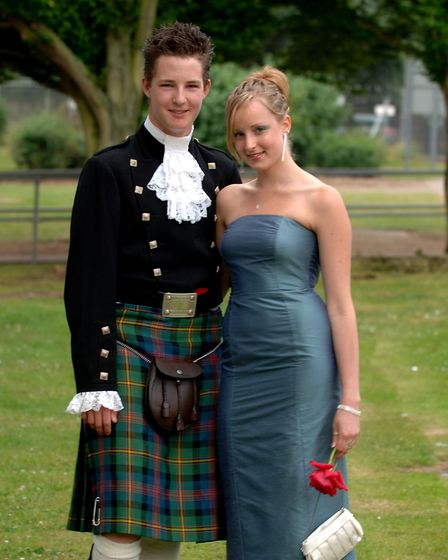 Toby Taylor wears scottish dress at the Attleborough High School Prom, with date Ashleigh Proudfoot.