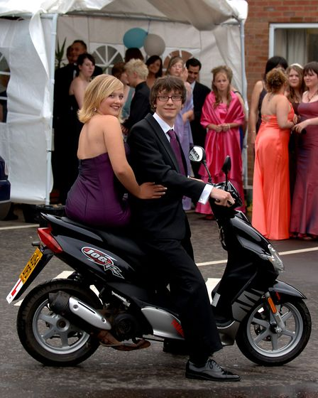 Kim Miller and Matt Lake arrive by moped at the Attleborough High School Prom.Photo: Denise Bradle