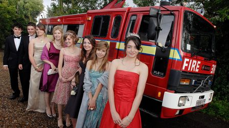 CAPTION; Photo of the Fire Truck Limo in Sharrington to take pupils to the Fakenham High School Prom