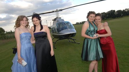Sprowston High school pupils Alix Pudwell, Eleanor Slater, Grace Porter and Jenni Armes arrive at t