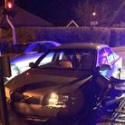 A driver was arrested on suspicion of drink driving after this crash in Victoria Road, Diss. Photo: