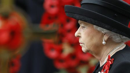 Queen Elizabeth II attends the Remembrance Sunday service at the Cenotaph in London. (AP Photo/Kirst