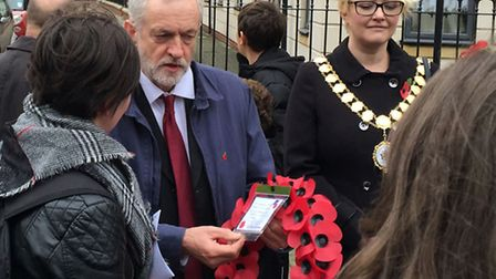 Labour party leader Jeremy Corbyn arrives to lay a wreath, and read a poem, at the North Islington w