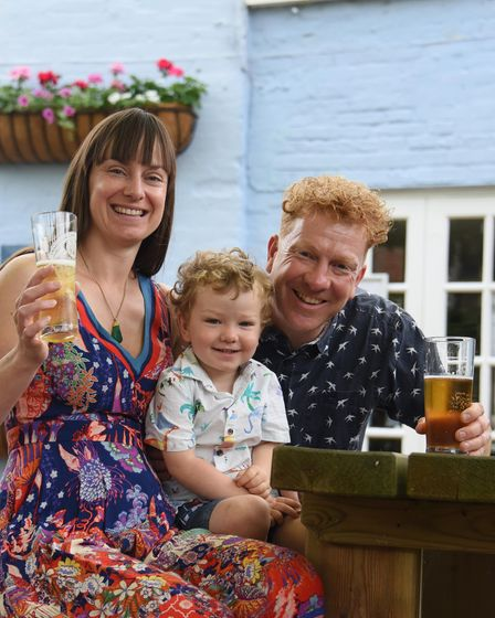 Tanya Martin and Mark Hougham, with their two-year-old son Austin, at the Castle Inn in Bungay