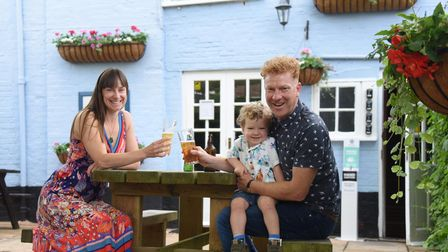 Tanya Martin and Mark Hougham, with their two-year-old son Austin, at the Castle Inn in Bungay.