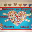 A notice board with big bold text: Rayne Primary and Nursery School