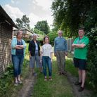 Cllr Clive Springett (Right) with residents whom he is fighting on behalf of to stop an 'infill' d
