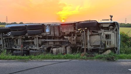 A140 overturned lorry