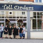 Staff outside the Tall Orders coffee shop in Stowmarket
