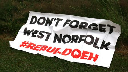 Banner at the QEH rally in support of hospital rebuild.
