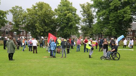 More than 200 peoplegathered at a march and rally in King's Lynn in support of a new hospital build