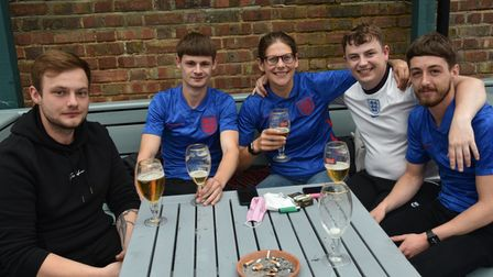 England v Ukraine Fans get ready for the match The Kings Arms, Bury St Edmunds