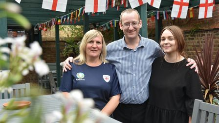 England v Ukraine Staff at the Kings Head in Bury St Edmunds L-r Dawn Williams, Stuart Shirley and