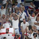 England fans celebrate at the final whistle after the UEFA Euro 2020 Quarter Final match at the Stad