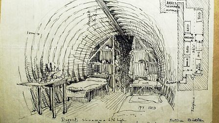 A sketch of a dugout by Cecil Upcher.