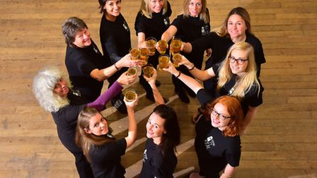 Female bar staff get ready for ladies night at the 4th annual Beccles beer festival.