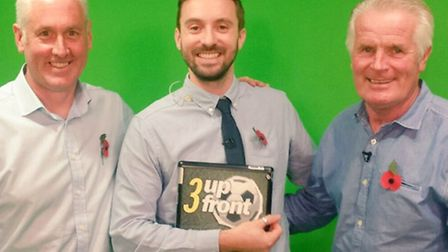 From left Chris Elliott, Michael Bailey and Steve Foley appear on this week's edition of Mustard TV'