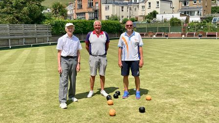 Madeira's Andy Lock (right) at Coombe Martin with Peter Iddenden (centre) for the National Men's Senior Singles (Over 55s)