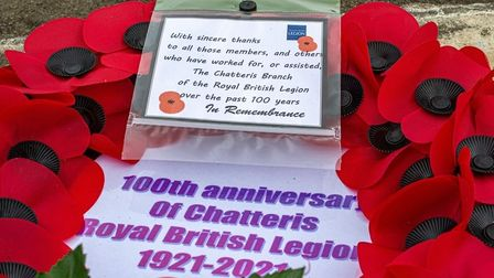 Wreath laid for 100 years of Chatteris Royal British Legion branch