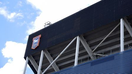 The Marcus Evans signs have been removed from the back of the Sir Alf Ramsey Stand