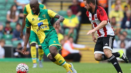 Youssouf Mulumbu made his Premier League debut for Norwich City at Manchester City. Picture by Paul