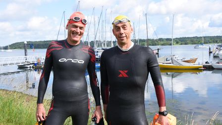 Two friends Nick and Richard are swimming the Suffolk Estuaries for charity. Picture: CHARLOTTE BON