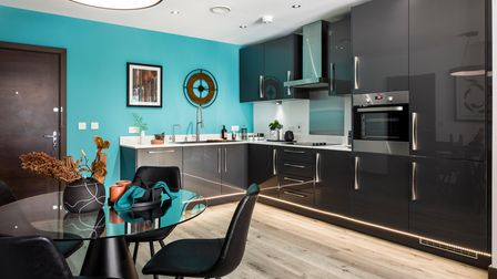 The kitchen in a show apartment at Abbey Quay.