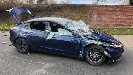 Wrecked month old Tesla Model 3 following accident