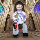 Luke Jerram's 'Gaia' is on display in the nave of Ely Cathedraluntil July 31.