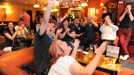 England fans reactions as they watch the Euro football match against the Ukraine at the Prince of Wa