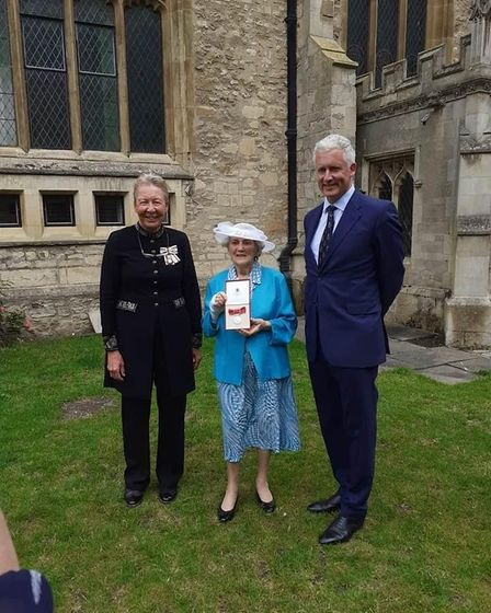 Janet Bays BEM pictured with Julie Spence and Richard Pemberton