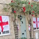 Flags from England fans, showing support ready for the teams' next match against Denmark tomorrow (Wednesday July 7).