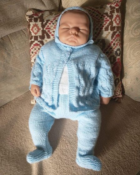 A dementia baby created by the Dereham Community Crafters