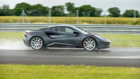 Jenson Button in the new Lotus Emira at Hethel in Norfolk